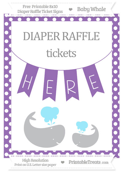 Free Pastel Plum Polka Dot Baby Whale 8x10 Diaper Raffle Ticket Sign