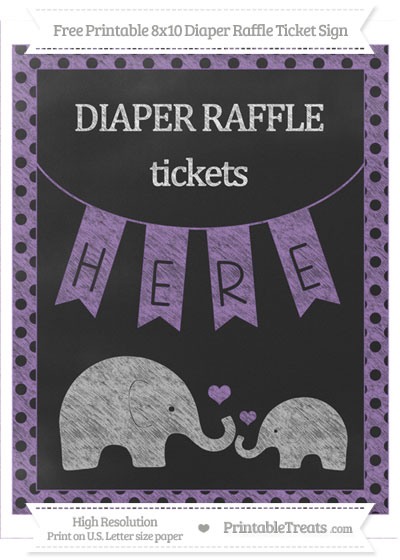 Free Pastel Plum Polka Dot Chalk Style Elephant 8x10 Diaper Raffle Ticket Sign