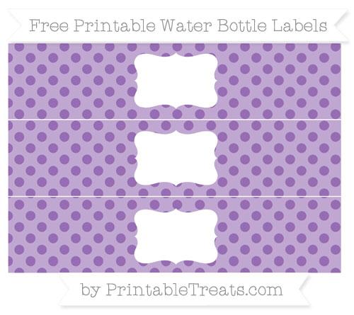 Free Pastel Plum Polka Dot Water Bottle Labels