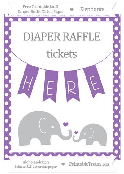 Free Pastel Plum Polka Dot Elephant 8x10 Diaper Raffle Ticket Sign