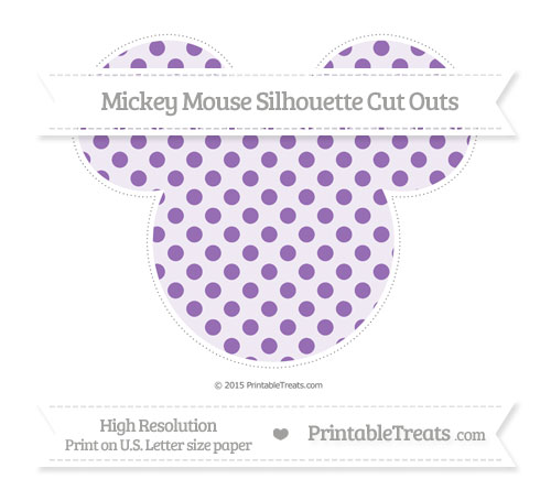 Free Pastel Plum Polka Dot Extra Large Mickey Mouse Silhouette Cut Outs