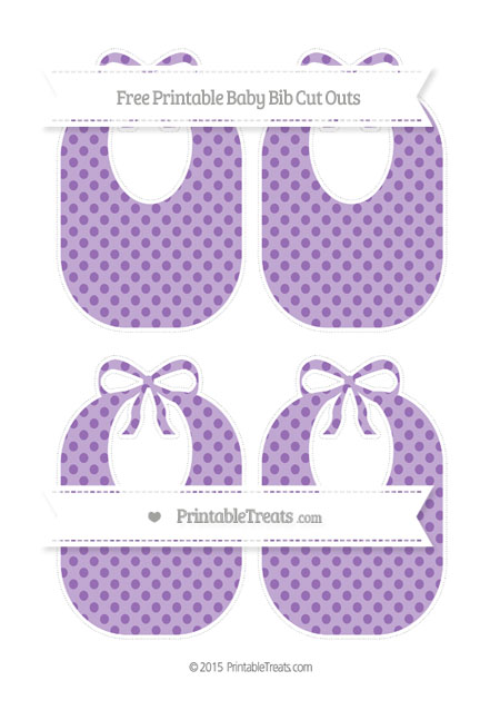 Free Pastel Plum Polka Dot Medium Baby Bib Cut Outs