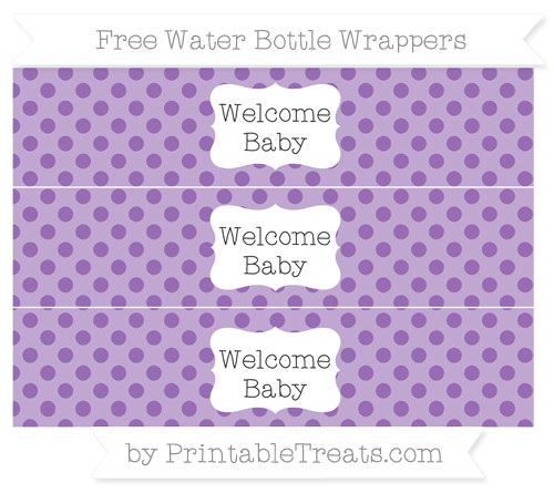 Free Pastel Plum Polka Dot Welcome Baby Water Bottle Wrappers