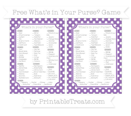 Free Pastel Plum Polka Dot What's in Your Purse Baby Shower Game