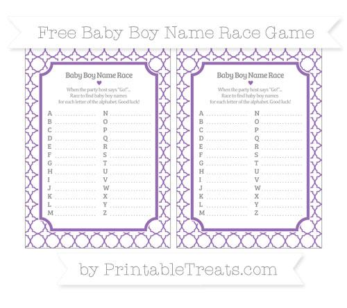 Free Pastel Plum Quatrefoil Pattern Baby Boy Name Race Game