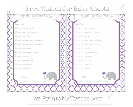 Free Pastel Plum Quatrefoil Pattern Baby Elephant Wishes for Baby Sheets