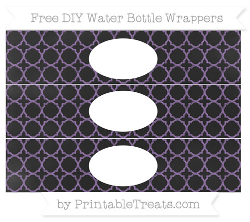 Free Pastel Plum Quatrefoil Pattern Chalk Style DIY Water Bottle Wrappers