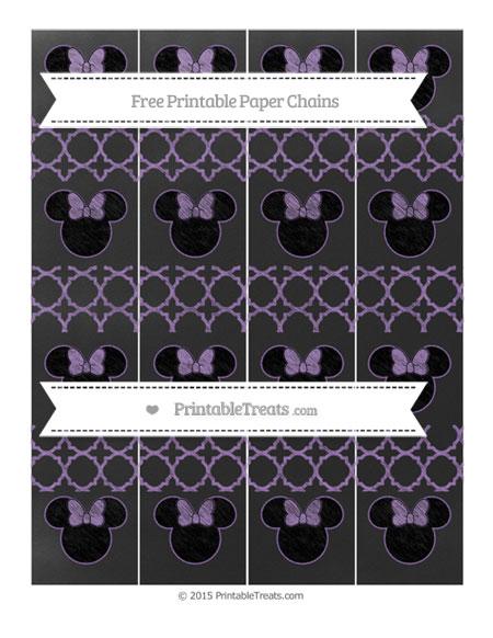 Free Pastel Plum Quatrefoil Pattern Chalk Style Minnie Mouse Paper Chains