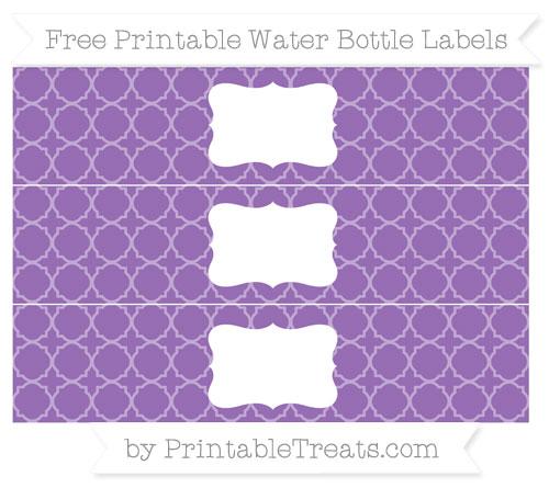 Free Pastel Plum Quatrefoil Pattern Water Bottle Labels