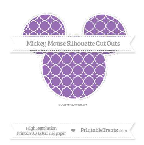 Free Pastel Plum Quatrefoil Pattern Extra Large Mickey Mouse Silhouette Cut Outs