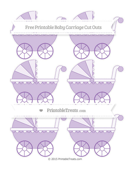 Free Pastel Plum Small Baby Carriage Cut Outs