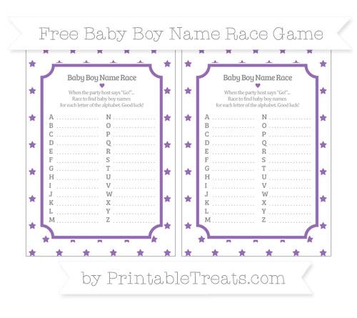 Free Pastel Plum Star Pattern Baby Boy Name Race Game