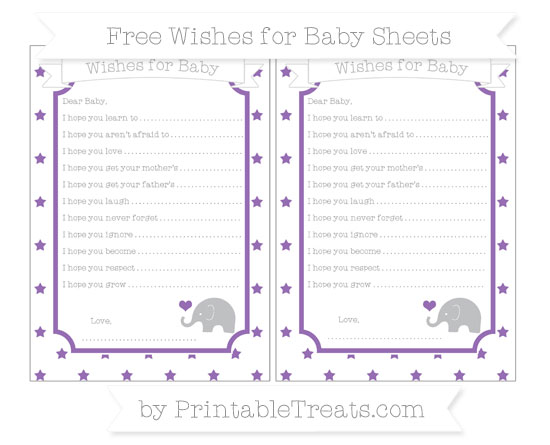 Free Pastel Plum Star Pattern Baby Elephant Wishes for Baby Sheets
