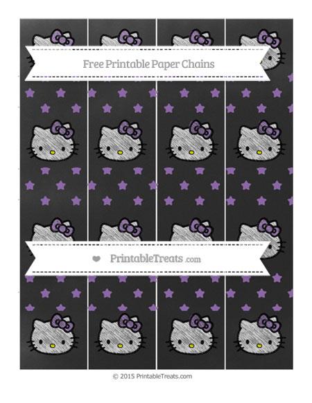 Free Pastel Plum Star Pattern Chalk Style Hello Kitty Paper Chains