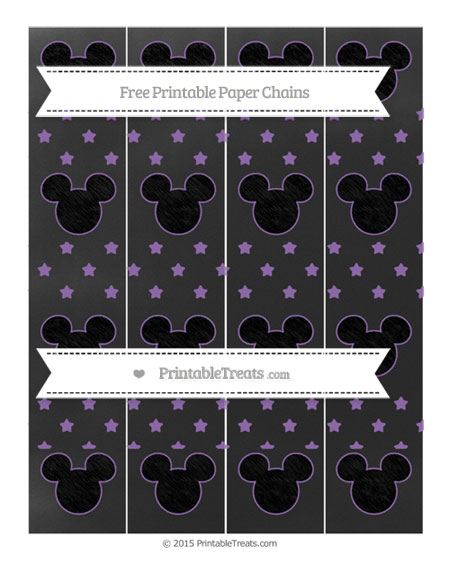 Free Pastel Plum Star Pattern Chalk Style Mickey Mouse Paper Chains