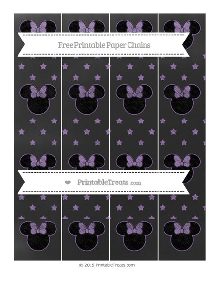 Free Pastel Plum Star Pattern Chalk Style Minnie Mouse Paper Chains