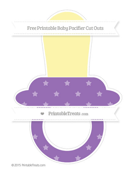 Free Pastel Plum Star Pattern Extra Large Baby Pacifier Cut Outs