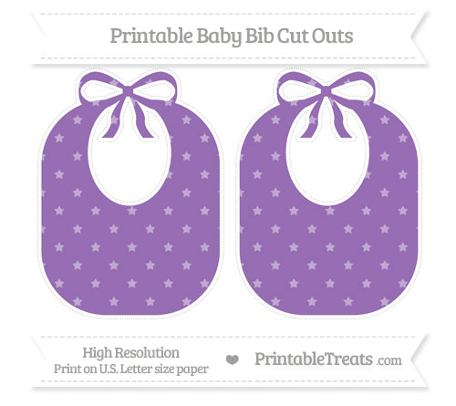 Free Pastel Plum Star Pattern Large Baby Bib Cut Outs