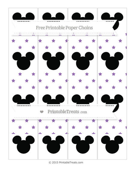 Free Pastel Plum Star Pattern Mickey Mouse Paper Chains