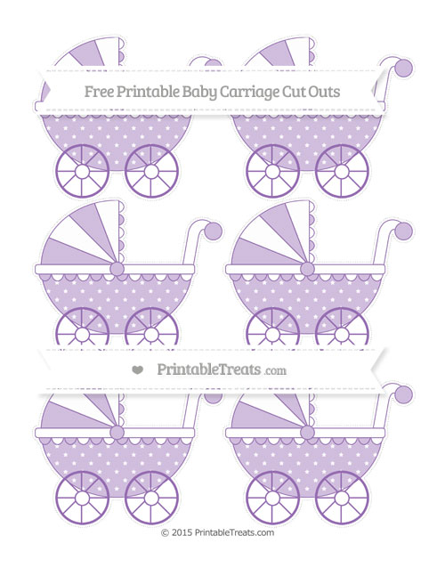 Free Pastel Plum Star Pattern Small Baby Carriage Cut Outs