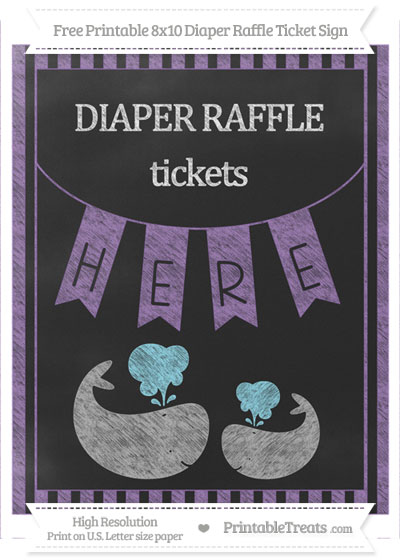 Free Pastel Plum Striped Chalk Style Baby Whale 8x10 Diaper Raffle Ticket Sign