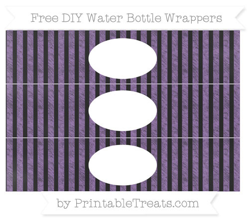 Free Pastel Plum Striped Chalk Style DIY Water Bottle Wrappers