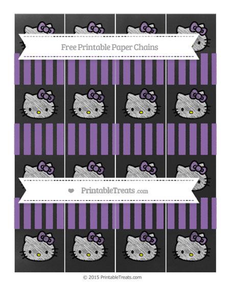 Free Pastel Plum Striped Chalk Style Hello Kitty Paper Chains