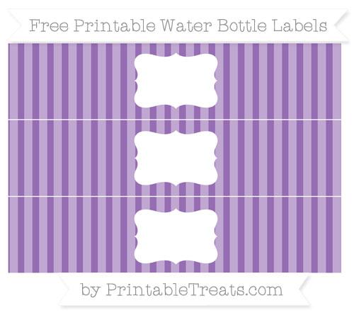 Free Pastel Plum Striped Water Bottle Labels