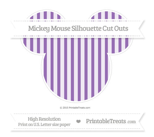 Free Pastel Plum Striped Extra Large Mickey Mouse Silhouette Cut Outs