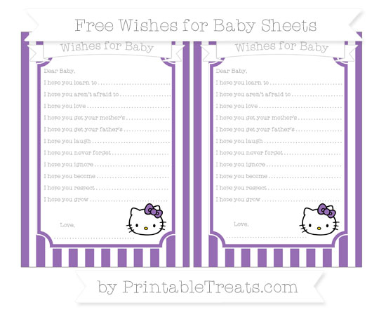 Free Pastel Plum Striped Hello Kitty Wishes for Baby Sheets