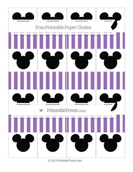 Free Pastel Plum Striped Mickey Mouse Paper Chains