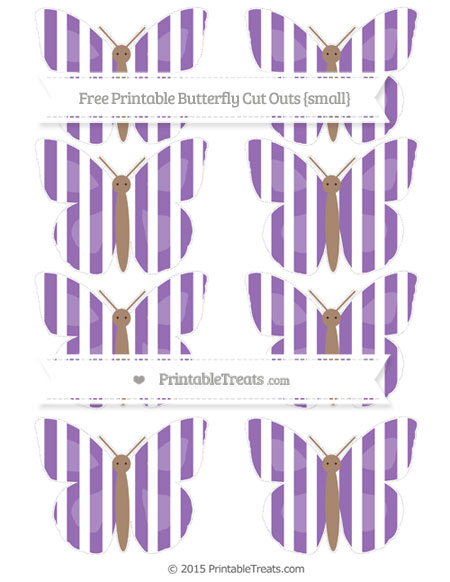 Free Pastel Plum Striped Small Butterfly Cut Outs