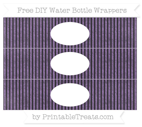 Free Pastel Plum Thin Striped Pattern Chalk Style DIY Water Bottle Wrappers