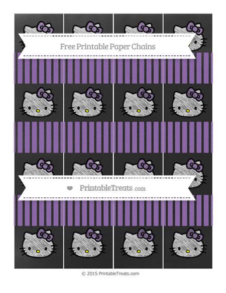 Free Pastel Plum Thin Striped Pattern Chalk Style Hello Kitty Paper Chains