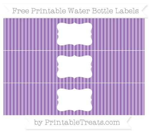 Free Pastel Plum Thin Striped Pattern Water Bottle Labels