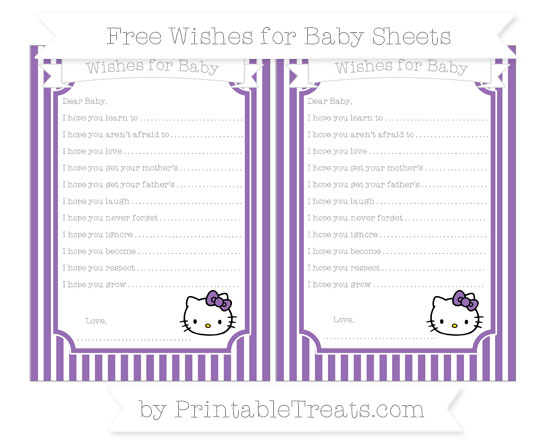 Free Pastel Plum Thin Striped Pattern Hello Kitty Wishes for Baby Sheets