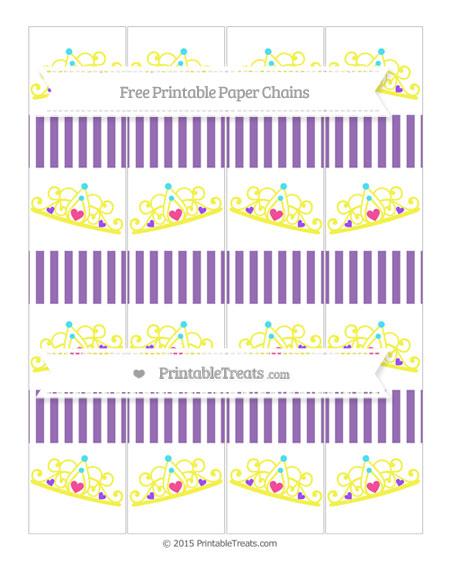 Free Pastel Plum Thin Striped Pattern Princess Tiara Paper Chains