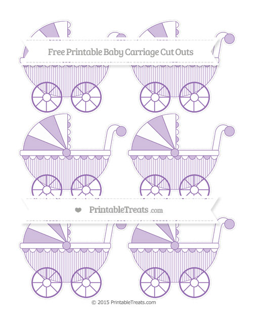 Free Pastel Plum Thin Striped Pattern Small Baby Carriage Cut Outs