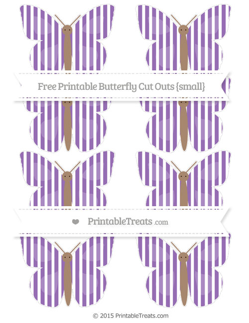 Free Pastel Plum Thin Striped Pattern Small Butterfly Cut Outs