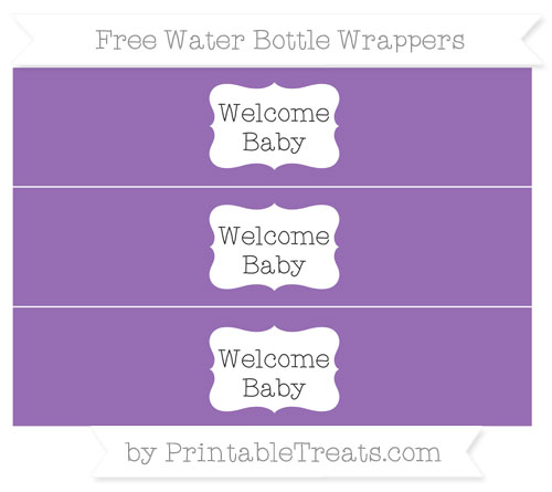 Free Pastel Plum Welcome Baby Water Bottle Wrappers