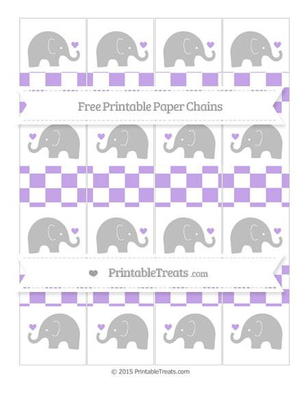 Free Pastel Purple Checker Pattern Baby Elephant Paper Chains