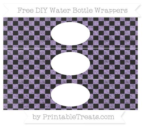 Free Pastel Purple Checker Pattern Chalk Style DIY Water Bottle Wrappers