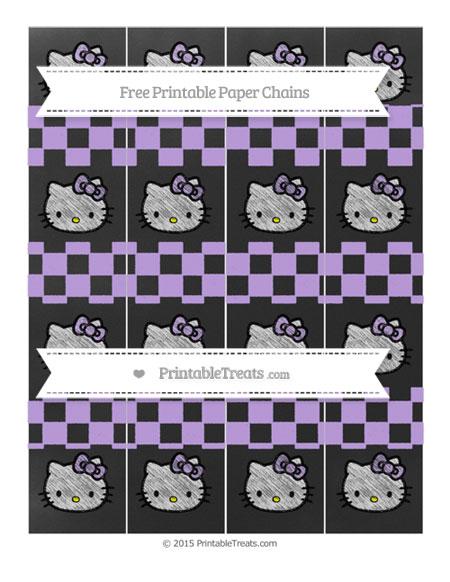 Free Pastel Purple Checker Pattern Chalk Style Hello Kitty Paper Chains
