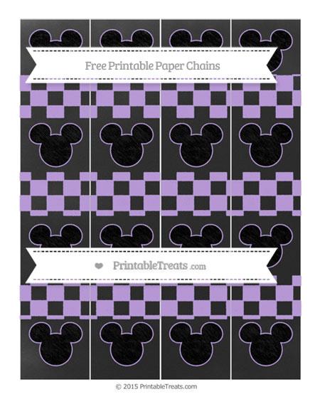 Free Pastel Purple Checker Pattern Chalk Style Mickey Mouse Paper Chains