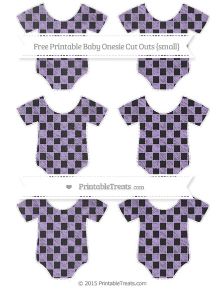 Free Pastel Purple Checker Pattern Chalk Style Small Baby Onesie Cut Outs