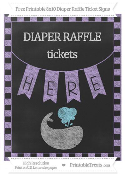 Free Pastel Purple Checker Pattern Chalk Style Whale 8x10 Diaper Raffle Ticket Sign
