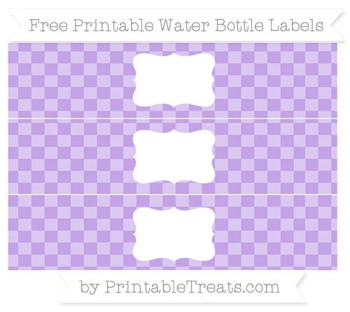 Free Pastel Purple Checker Pattern Water Bottle Labels