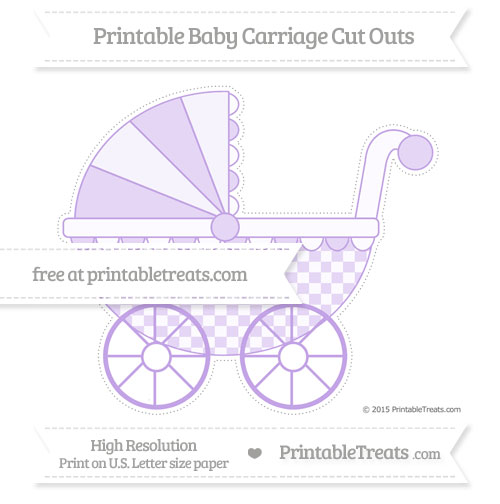 Free Pastel Purple Checker Pattern Extra Large Baby Carriage Cut Outs