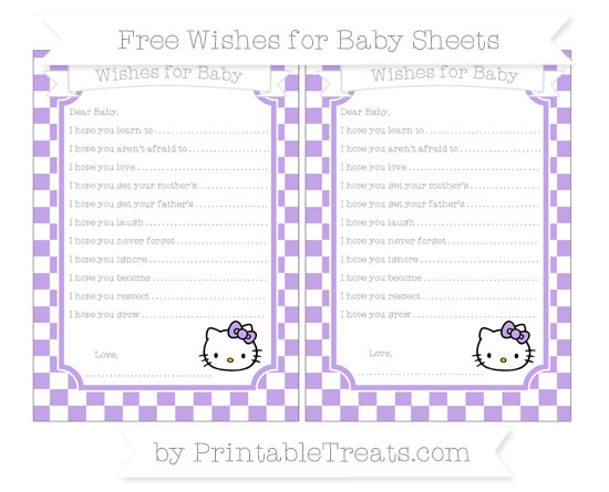 Free Pastel Purple Checker Pattern Hello Kitty Wishes for Baby Sheets
