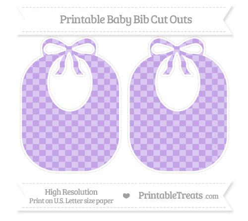 Free Pastel Purple Checker Pattern Large Baby Bib Cut Outs